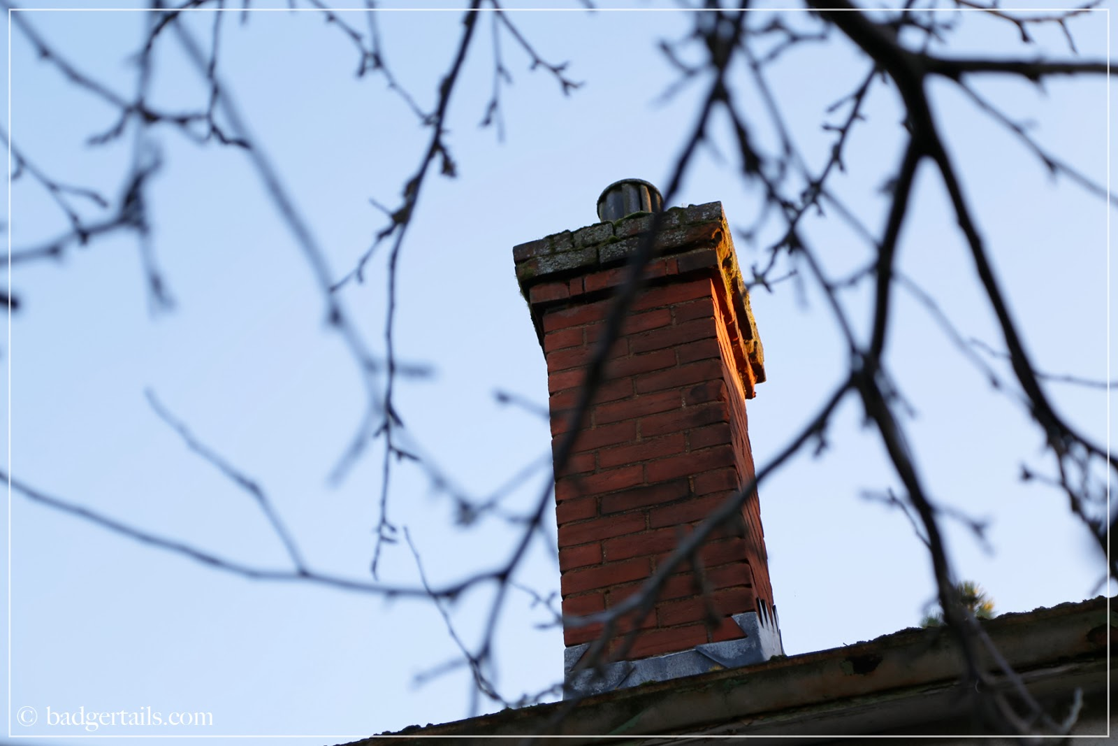 chimney top in late winter sun