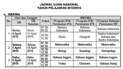 jadwal UN Utama dan Susulan jenjang SMA/MA tahun 2016