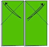 Bước 2: Gấp góc trái của hình chữ nhật về đằng trước và về đằng sau nhiều lần để tạo thành nét gấp sau đó mở ra. Tương tự ta cũng gấp mép phải của hình chữ nhật về đằng trước và đằng sau nhiều lần để tạo thành nép gấp giống như hình vẽ dưới. Nhớ sau đó mở ra nhé.