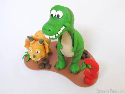 Topo de Bolo Dinossauro Biscuit Aniversário