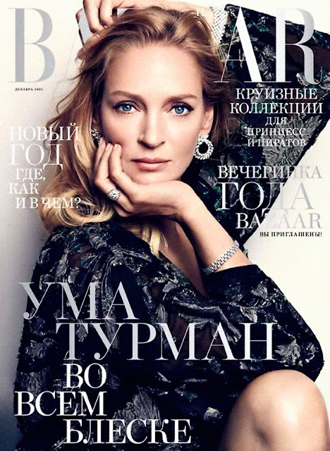 Actress, Model, @ Uma Thurman - Harper's BAZAAR Russia, December 2015