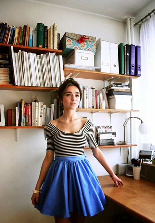 Lovely striped top with cute blue skirt