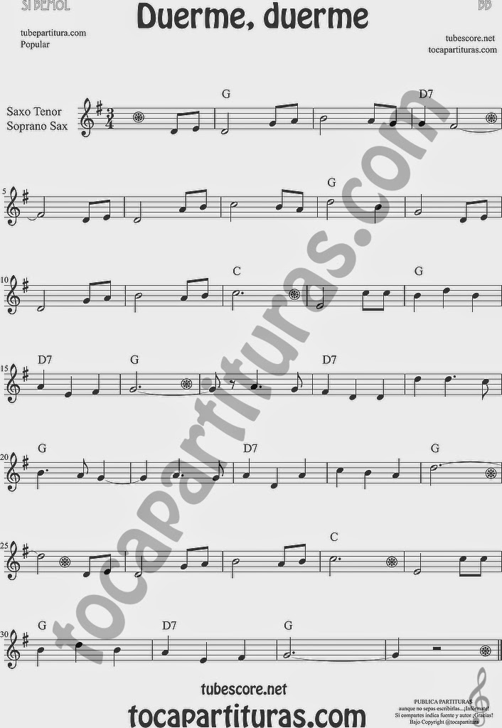 Duerme Duerme Partitura Popular de Saxofón Soprano y Saxo Tenor Sheet Music for Soprano Sax and Tenor Saxophone Music Scores