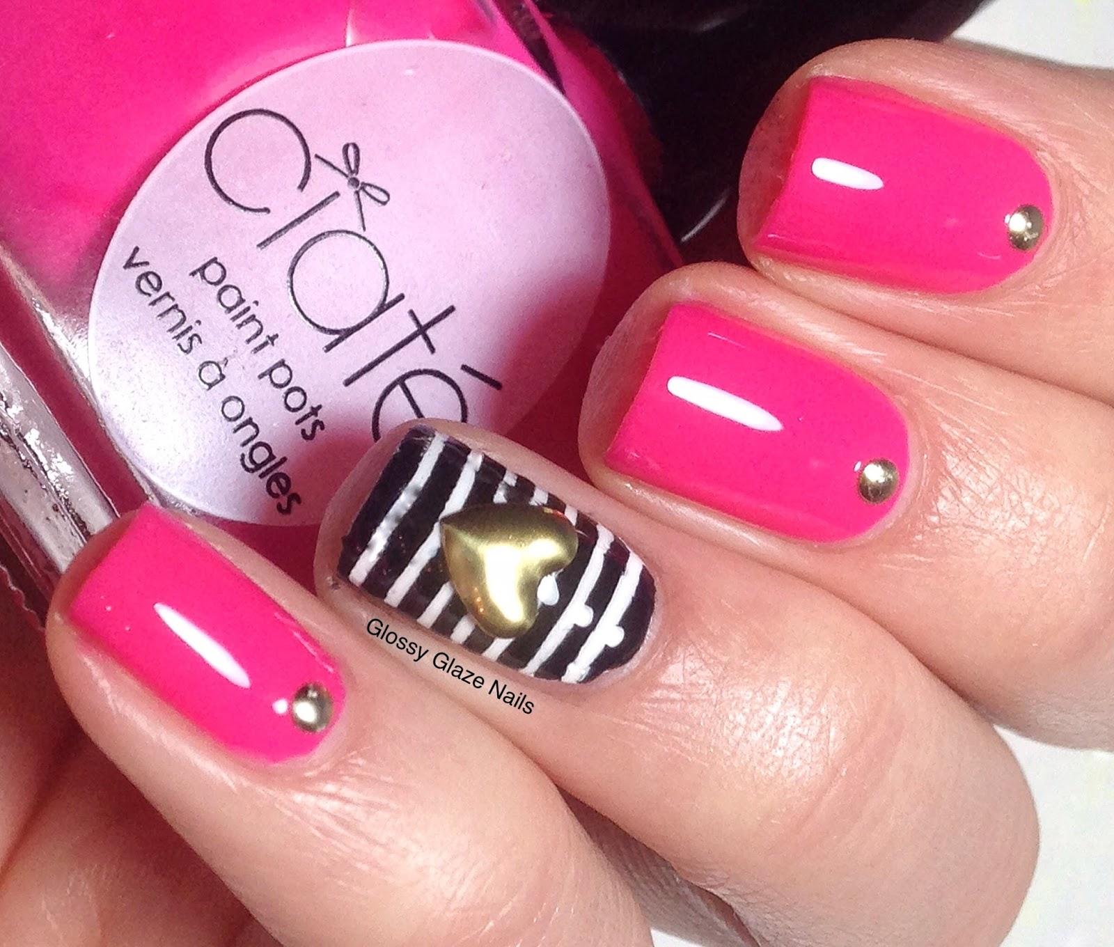 Striped Nail Art Glossy Glaze Nails