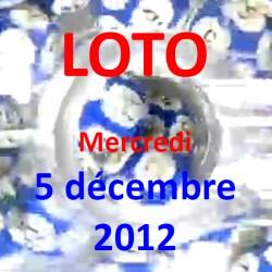 boules du LOTO - tirage du mercredi 5 décembre 2012