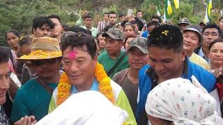 Bimal Gurung in Gorubathan during Gorkhaland Janjagaran padyatra