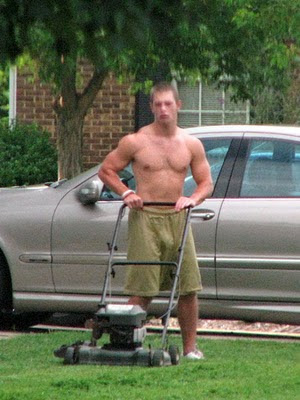 hot boy mowing shirtless