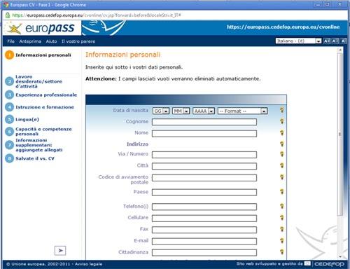 curriculum vitae  compila online il tuo curriculum vitae