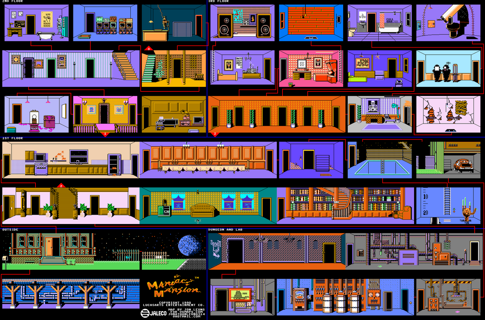 Rooms in a house template - Mu Foundation Maniac Mansion