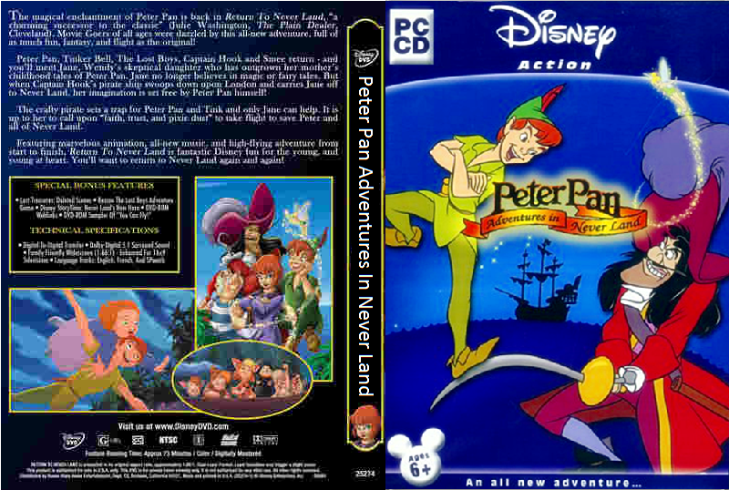 Peter Pan - As Aventuras Na Terra Do Nunca PC DVD Capa