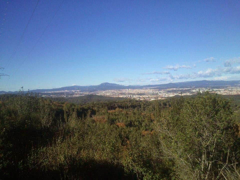 Cara N-NW de Collserola. Al fondo, el Vallés Occidental (Cerdanyola, Sabadell, etc.) y La Mola. [Foto: Alberto Prieto Martín]