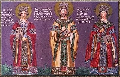 Η κτητορική παράσταση των Μεγάλων Κομνηνών στην Παναγία Θεοσκεπάστου, όπως αποτυπώθηκε από περιηγητές του 19ου αιώνα. Εικονίζονται ο Αλέξιος Γ΄ (1349-1390), η σύζυγός του Θεοδώρα Καντακουζηνή και η Ειρήνη, μητέρα του Αλεξίου Γ΄, η οποία κρατά ομοίωμα ναού.