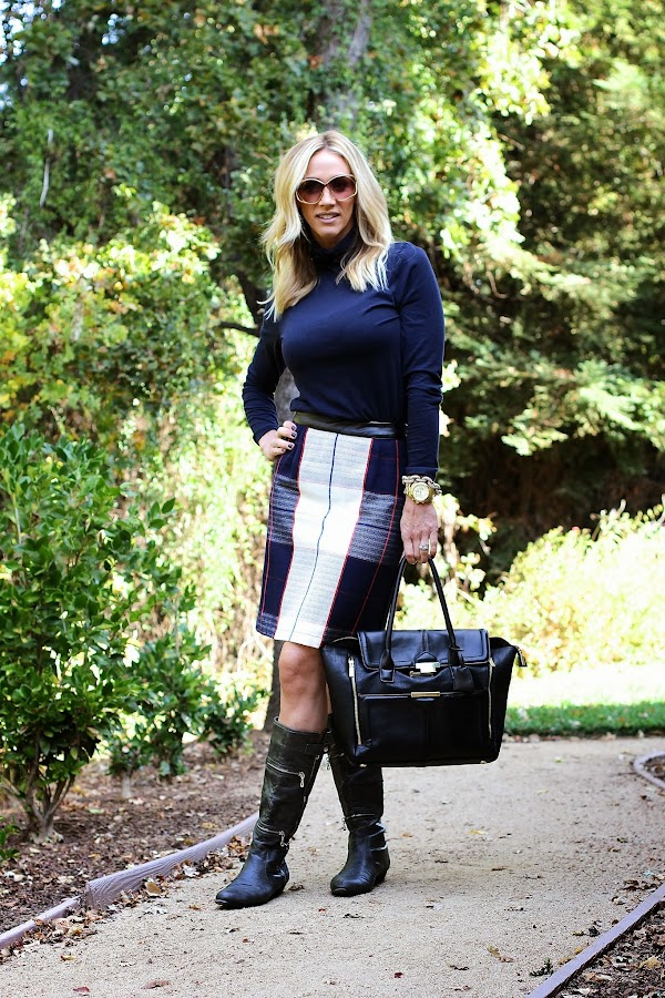 fall boots plaid skirt