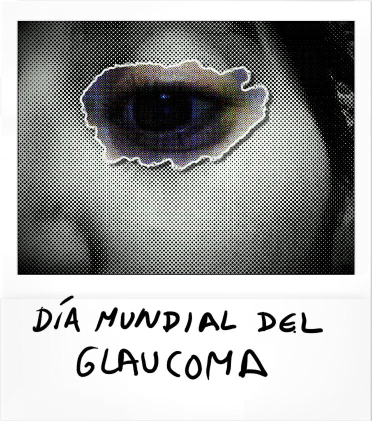"""Imagen de parte de una cara en difuminado y con la zona del ojo definida. Formato polaroid y con leyenda """"Dia Mundial del Glaucoma"""""""