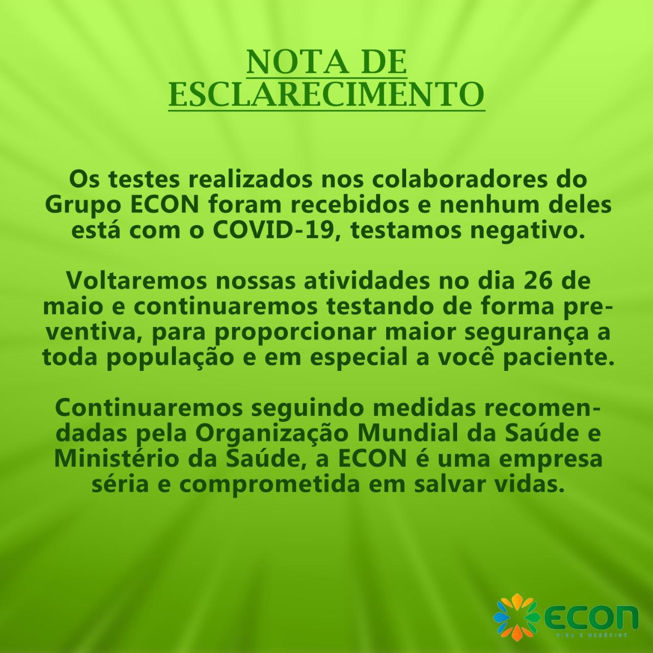 ATENÇÃO! ATENDIMENTO ECON/PARELHAS