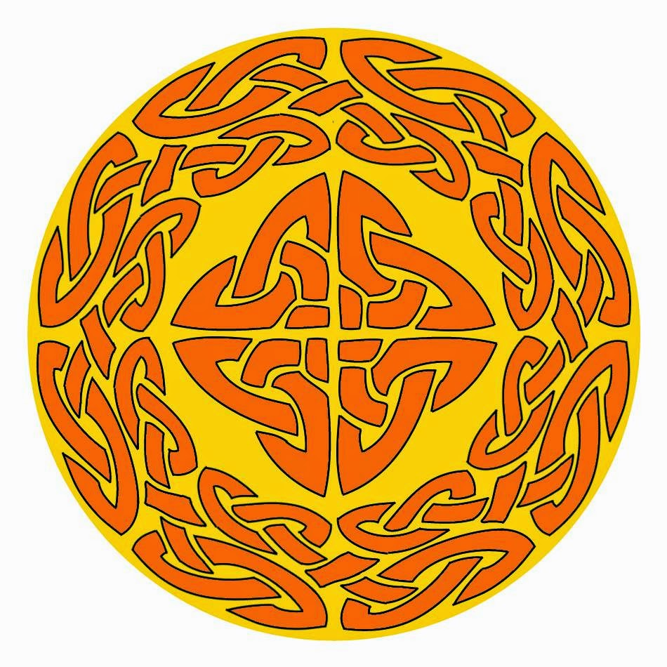 Celtic mandala in orange on yellow background with central cross