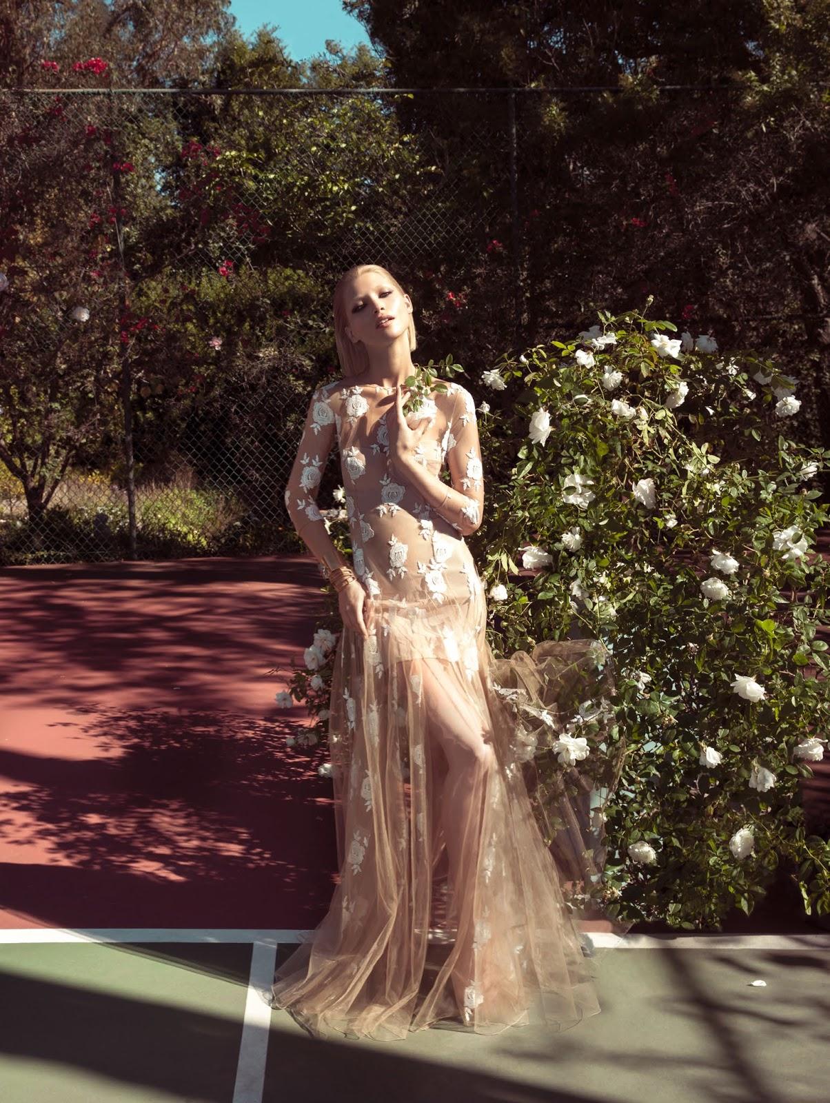 Hana Jirickova wearing Blumarine lace dress in Peach Blush editorial photographed by Camilla Akrans for Vogue China March 2014 via fashioned by love british fashion blog