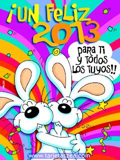 Tarjeta conejos abrazados con frase de año nuevo