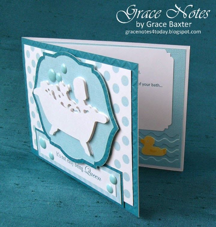 Tub Queen, congrats card, angled front by Grace Baxter