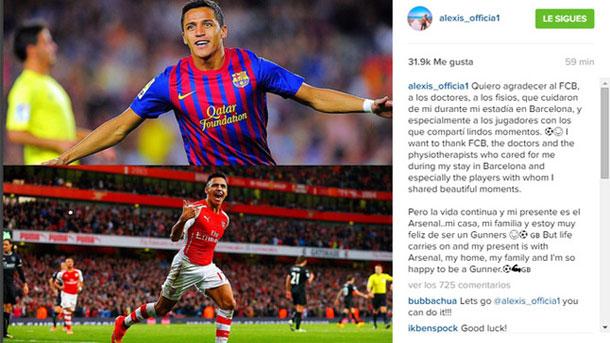 Alexis Sánchez agradece al Barça el trato recibido