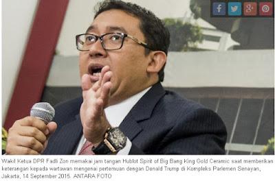 Kasus Jam Tangan Mewah 500 juta - 1 Miliar (Fadli Zon & Setyan Novanto)