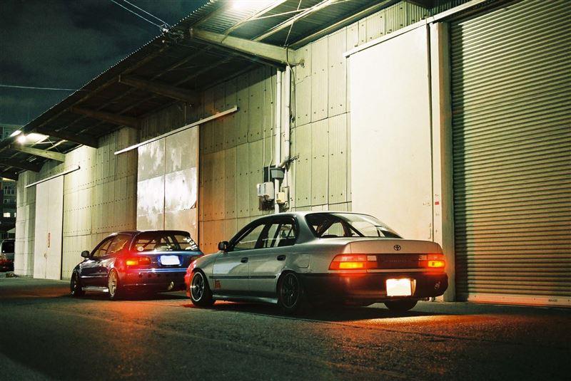 Honda Civic V, hatchback, Toyota Corolla E100, VTEC is kicking in, znane samochody, tył, auta nocą, galeria, popularne