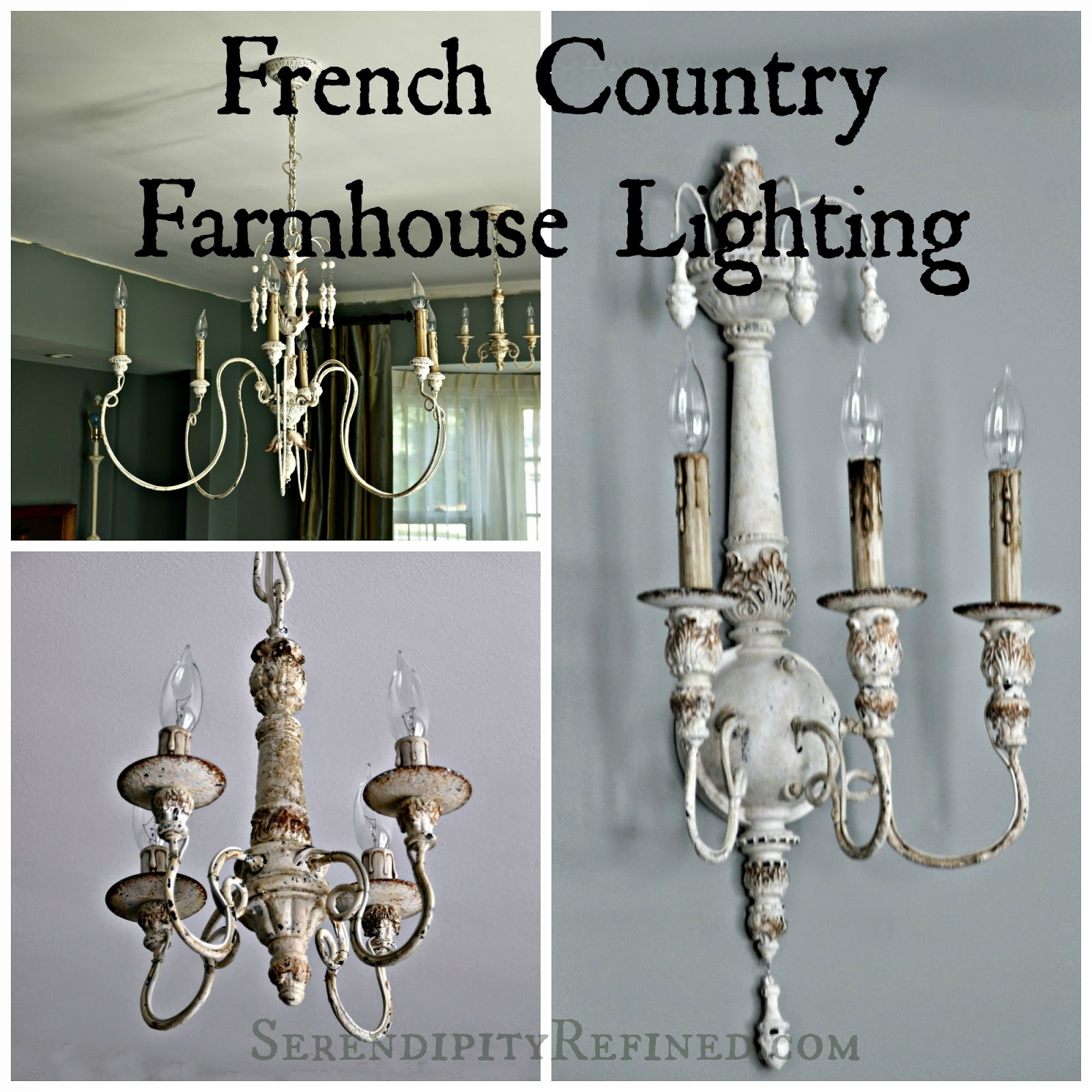 Cool French Country farmhouse style chandeliers and sconces with resources