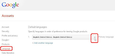 Google account settings language option