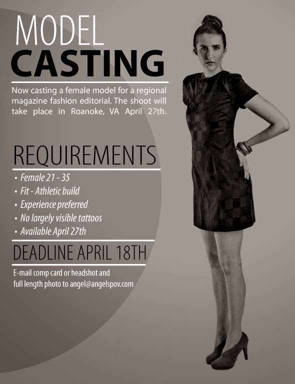 model casting call roanoke virginia mangazine shoot female model