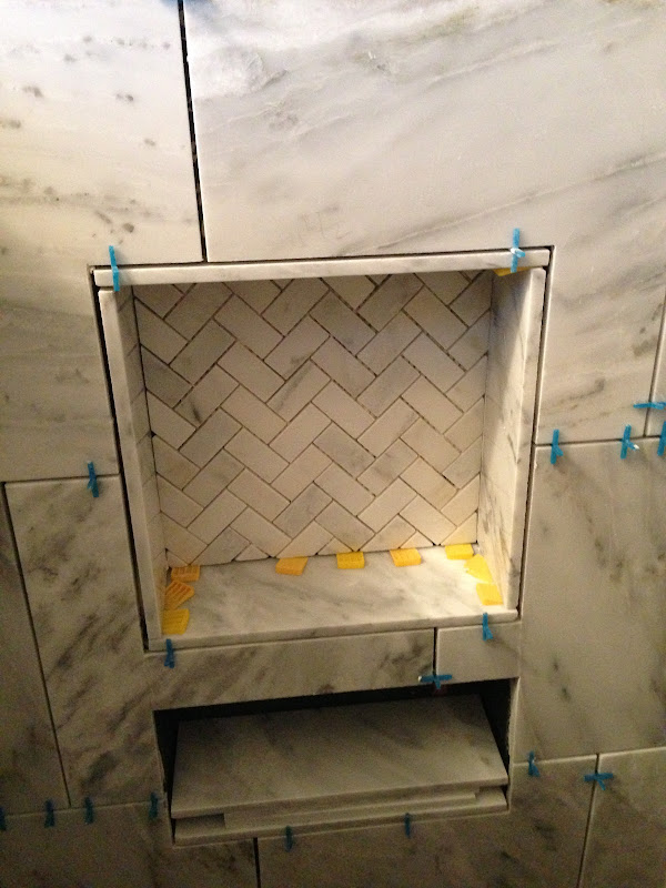 tile for my sons bathroom was installed, as well as the shower tile title=