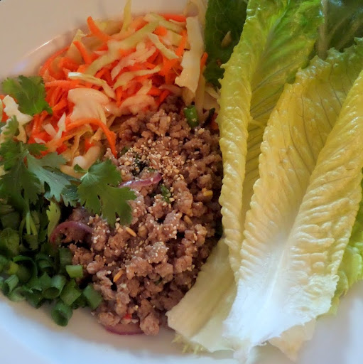 Larb:  A Laotian/Thai minced meat salad made with ground pork (or chicken), fish sauce, lime juice, toasted ground rice, and fresh herbs/vegetables.