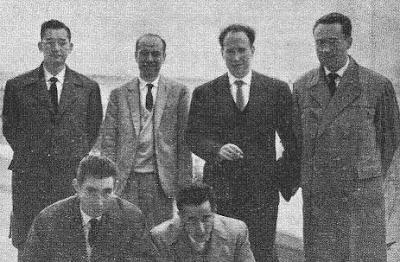 Los ajedrecistas Puig, Pomar, Díez del Corral, Ridameya, Serra y Franco en Varna 1962