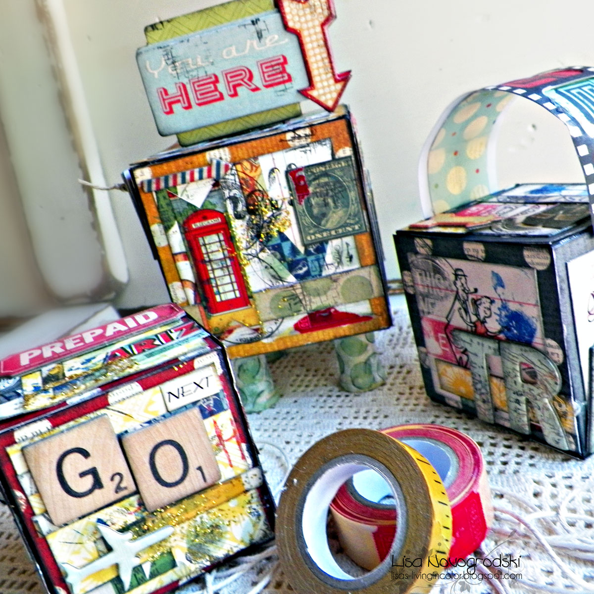 Artists Trading Blocks By Lisa Novogrodski Using The Souvenir Collection