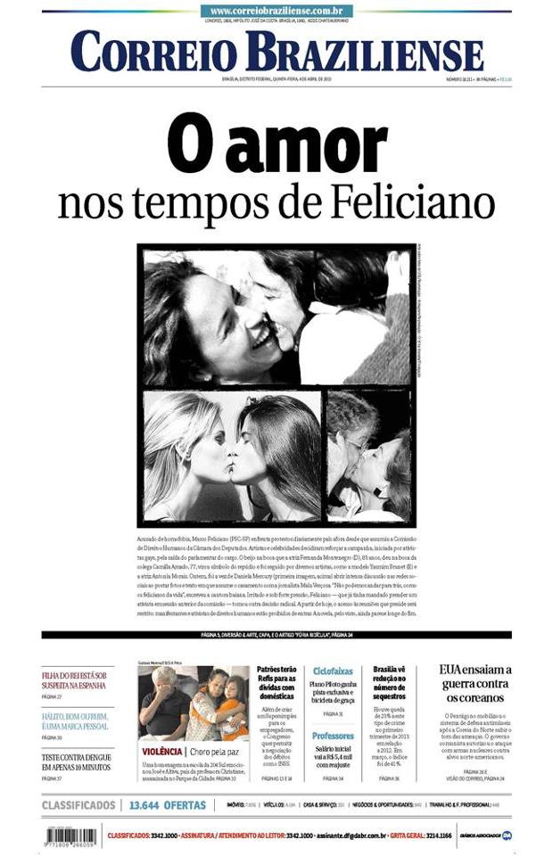 Estampando as fotos de Daniela Mercury com a namorada e o destaque 'O amor nos tempo de Feliciano' o Correio Braziliense lembra da atitude da cantora em sair do armário em tom político contra a homofobia de Marco Feliciano (Foto: Divulgação)