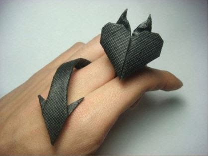 DIY Origami Devil Heart Ring