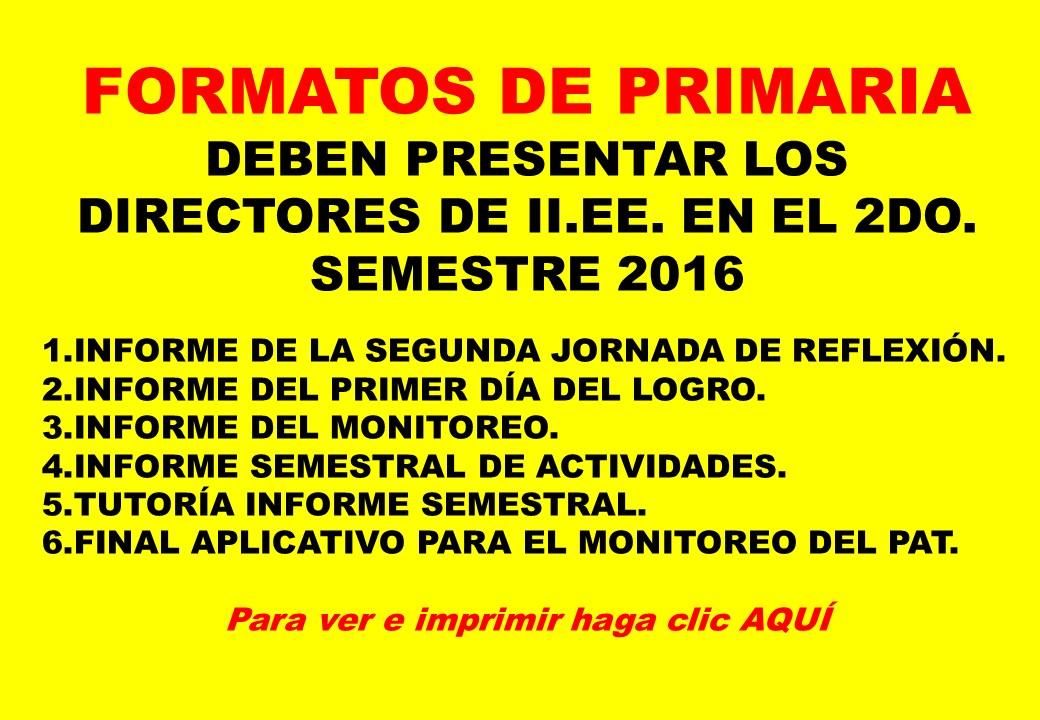 FORMATOS DE ED. PRIMARIA 2016
