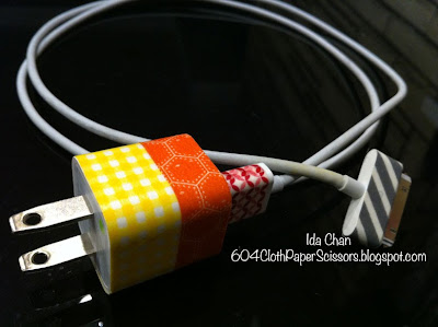 Washi Tape on Iphone Charger by Ida Chan Stampin Up Vancouver