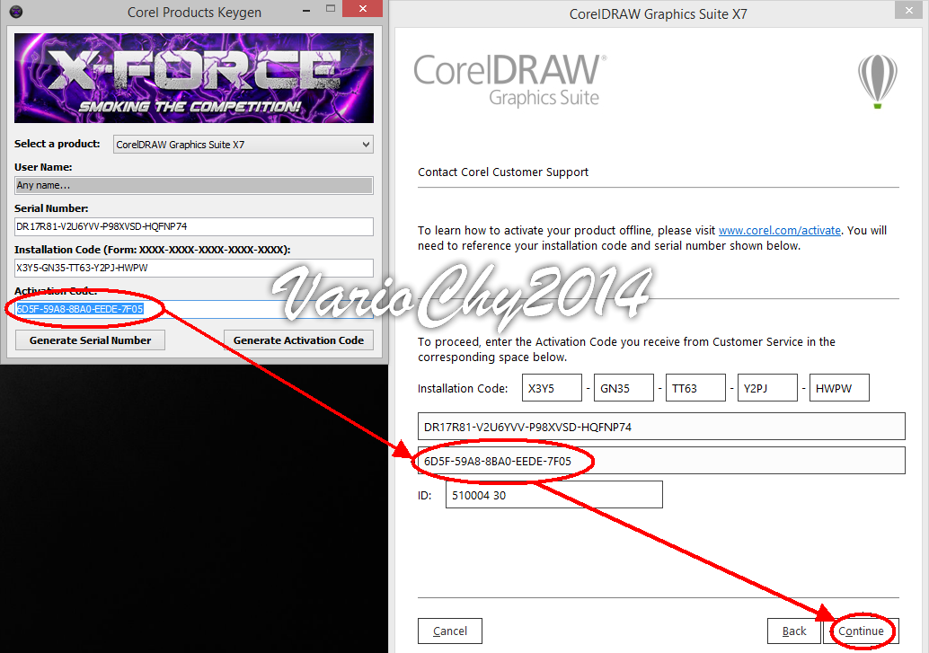 activation code corel draw x7