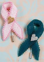 Pattern for my Ribbon Awareness Pins - Available on Beading Daily