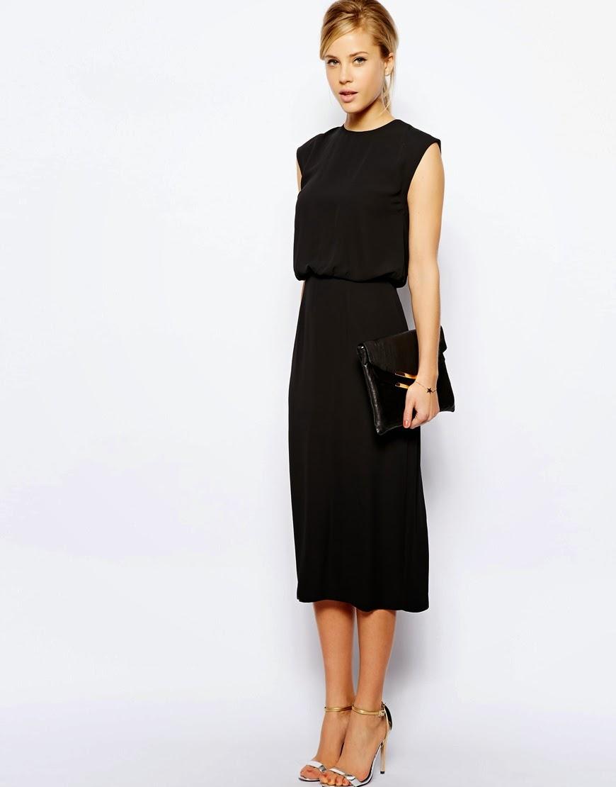 oasis black midi dress