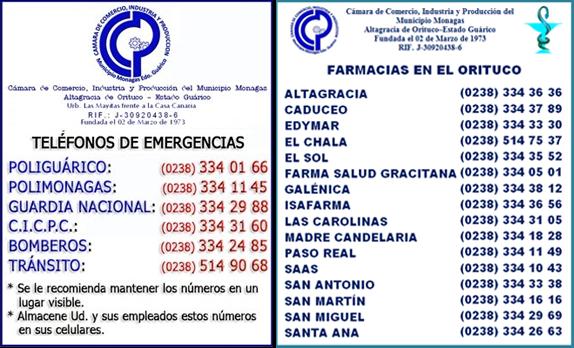 TELÉFONOS DE EMERGENCIAS Y FARMACIAS DEL ORITUCO