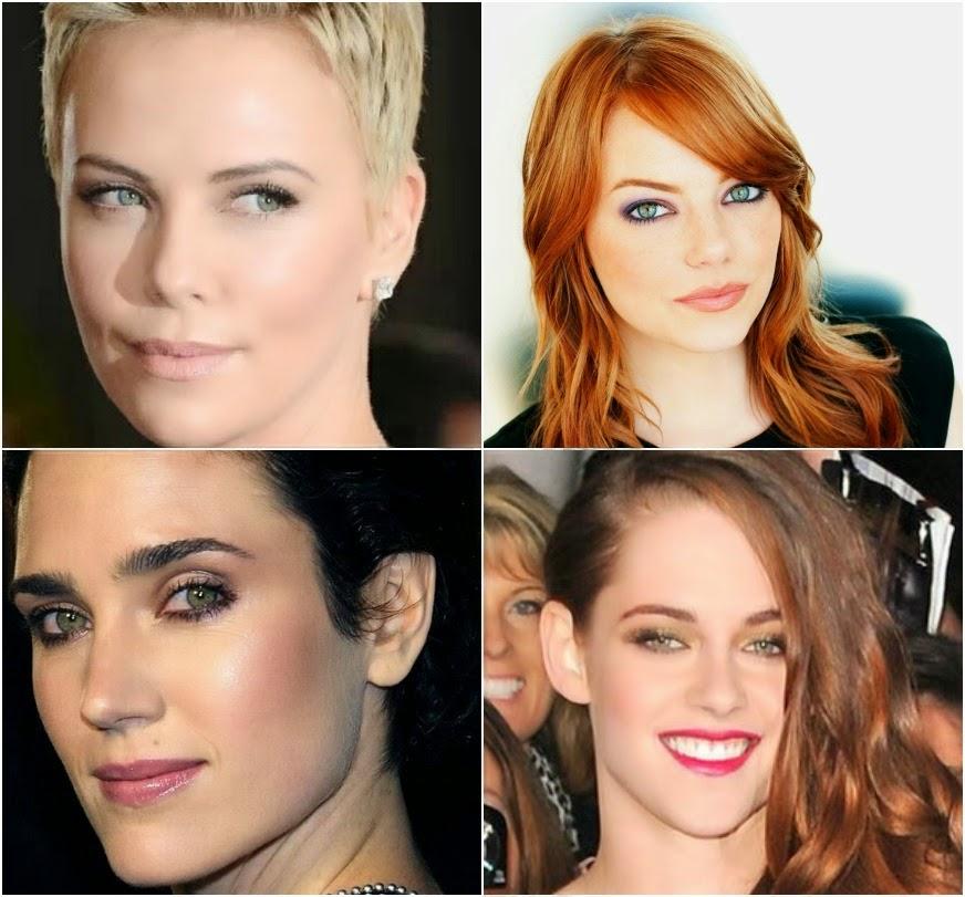 celebrities de ojos verdes y maquillaje