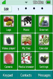 General Healthy, Vegetables, Fruits Samsung Corby 2 Theme 3 Menu