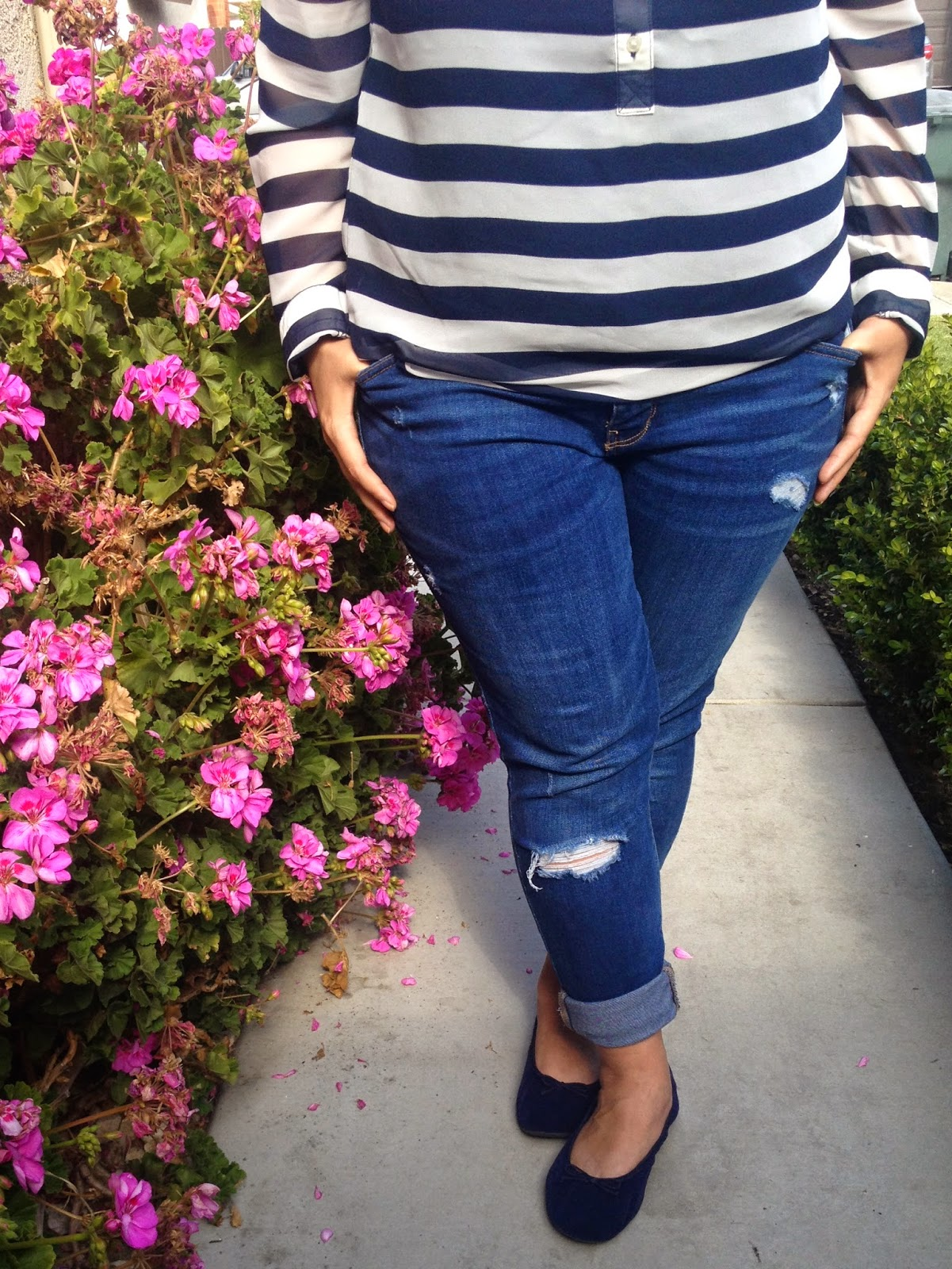 Old Navy Striped Shirt and Distressed Jeans