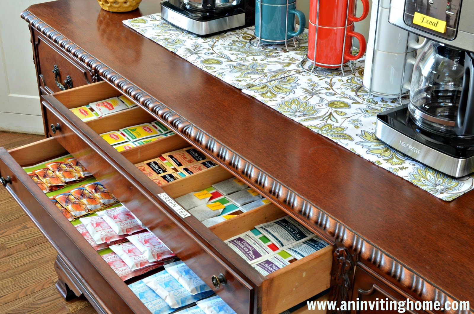 using drawers to store tea