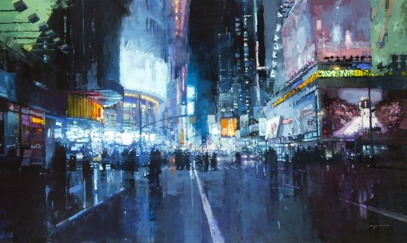Jeremy Mann oil paintings cityscapes