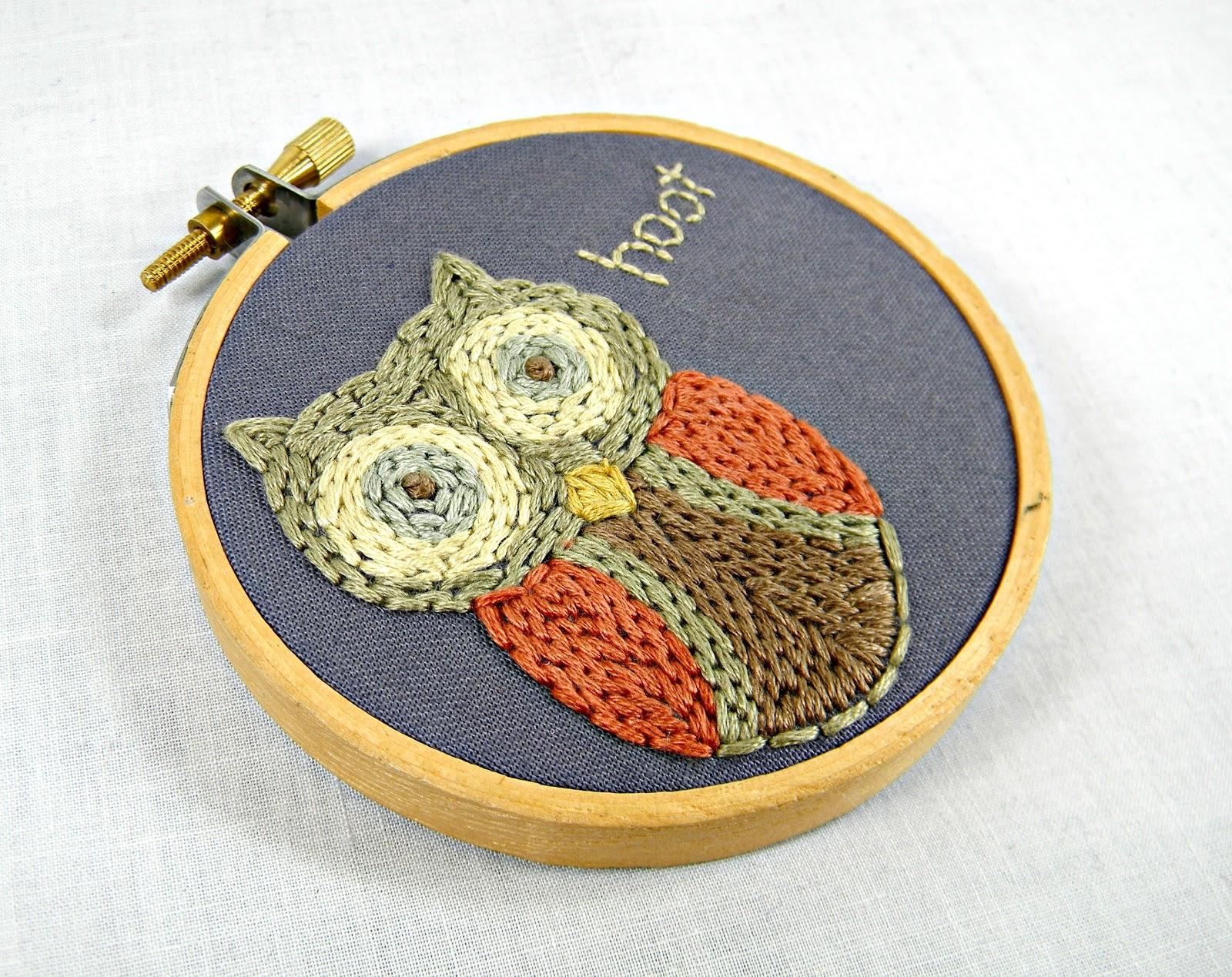 Hey Paul Studios Textured Owl Embroidery Art