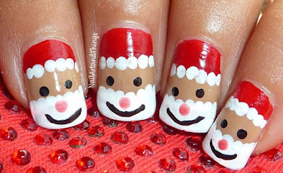 Christmas nail art ideas easy and simple design diet health in this second image four nail polish colors are used red white black and beige before making santa face apply one coat of beige or nude color nail prinsesfo Choice Image