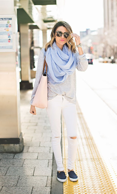 Hello Fashion in a light blue scarf over a gray tee and white denim