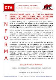 DENUNCIAMOS ANTE LA ITSS LA POSIBLE FALTA DE PROTECCIÓN DEL PERSONAL ESPECIALMENTE SENSIBLE AL COVI